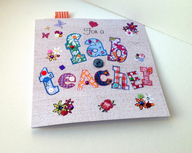 Greeting Card For Teacher,Printed Applique Design,Can Be Personalised