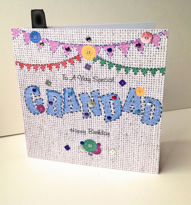 Birthday Card Grandad,Printed Applique Design,Handfinished,Personalised Card.