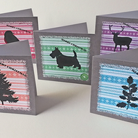 Christmas Cards,Pack of Ten,Colour &Silhoutte Design,Handmade Xmas Cards