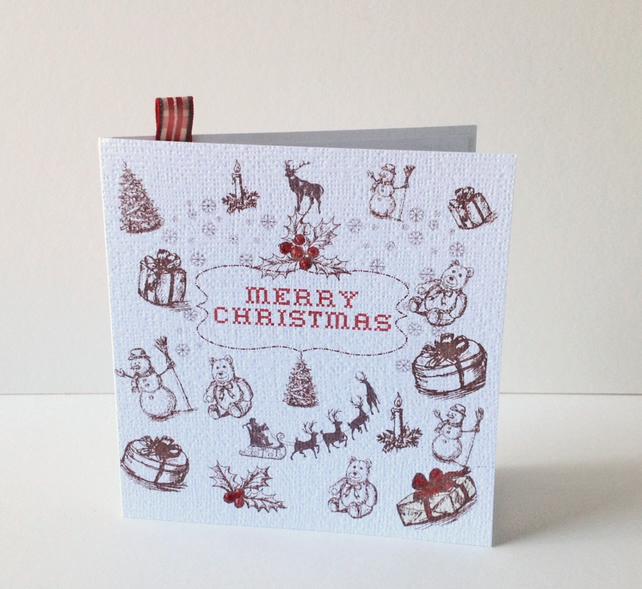 Christmas Cards Eight Pack,Vintage Themed Design Xmas Cards.