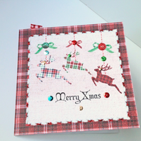 Christmas Card Pk of Five,'Seasonal Stitches' Handfinished Xmas Cards