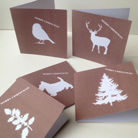 Christmas Cards,Pack of Ten,'Winter in White',Printed Handmade Xmas Cards.