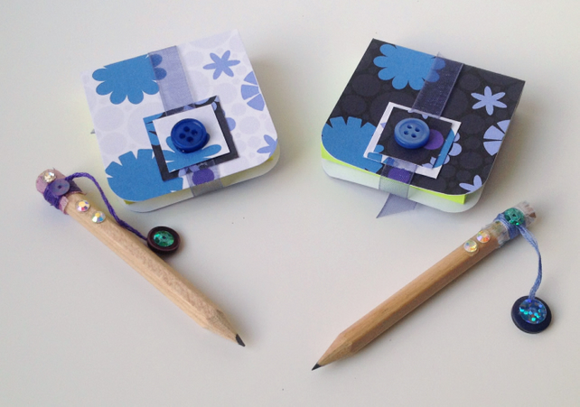 Mini Notebooks,Set of Two with Mini Decorated Pencils,Handmade Notebooks.