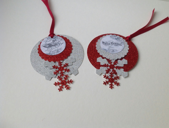 Christmas Bauble Gift Tags, Two Large Bauble, Snowflake Gift Tags.