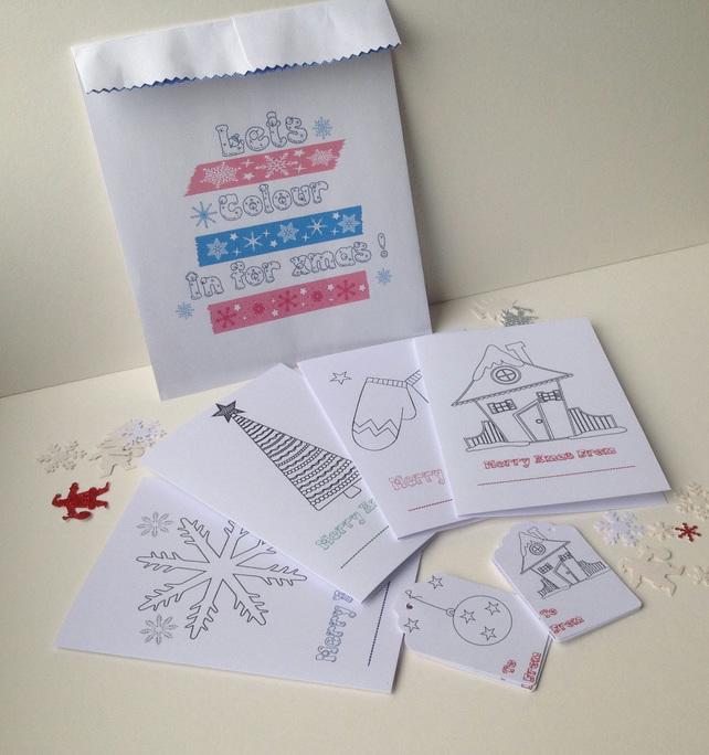 Christmas Cards,Gift Tags,Kids'Colouring In and Decrate'DIY Multi Craft Bag.