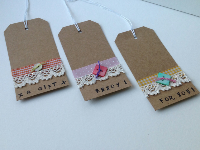 Gift Tags,Lace and Ribbon,Set of Three Handmade Message Tags.
