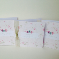 Greeting Card Pk of 3'Vintage Flowers' Get Well Theme,Handfinished Cards.