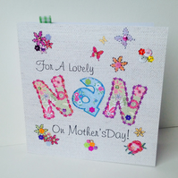 Mothers Day Greeting Card,For 'Nan',Printed Appliqué Design,Handfinished Card