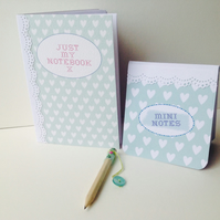 Notebook Set & Pencil,Set of Two Notebooks & Mini Pencil,Handmade Notebooks