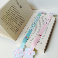 Bookmarks Set of Two,Ribbon Bookmarks Handmade,