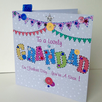 Fathers Day Greeting Card,Grandad,Printed Appliqué Design,Handfinished