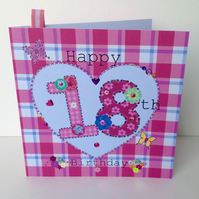 Birthday Card, Special Age,Pinks,Printed Design,Handfinished,Can Be Personalised