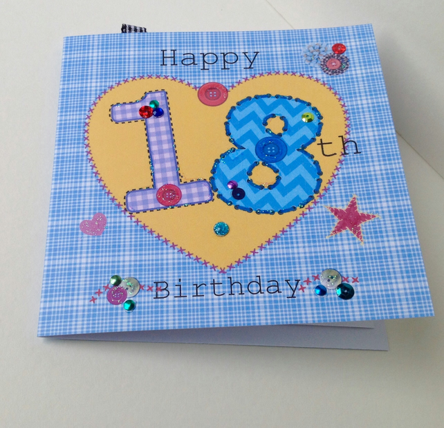Birthday Card,Special Age,Blues,Printed Design,Hand Finished,Can Be Personalised