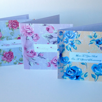 Anniversary Or Wedding,Pk of 3 Greeting Cards,'Bright Vintage Roses'Handmade.