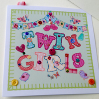 New Baby Twin Girls,Printed Appliqué Design, Handmade,Can Be Personalised.