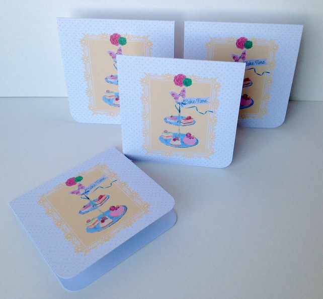 Notecards,Set of Four Blank,'Cake Time'Handmade Notecards with Envelopes