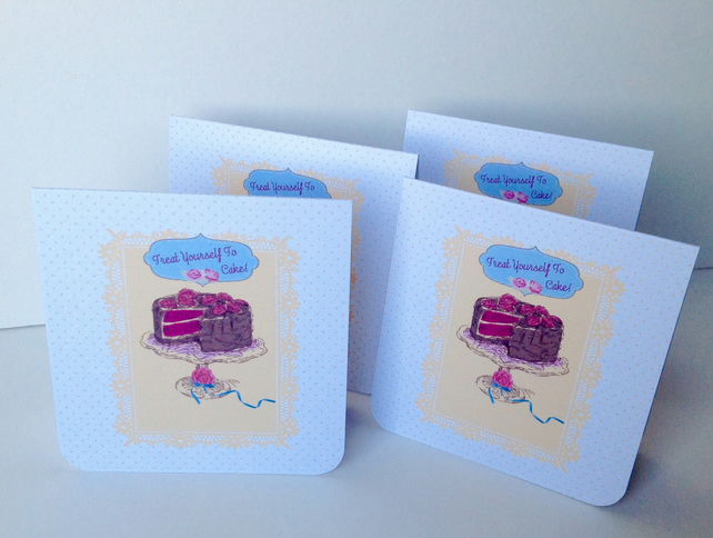 Notecards,Set of Four Blank,'Cake Time',Handmade Notecards with Envelopes