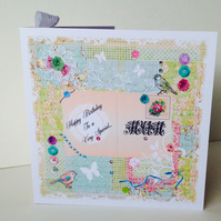 Birthday Card,Mum,Printed Patchwork Design,Can Be Personalised,Handmade