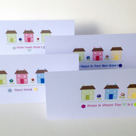 New Home Cards, Set of 4,Assorted Sentiment,'Happy Home'Design,Pk of Four