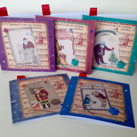 Christmas Cards,Pack of Five,'Childhood Xmas'Handmade pack Cards.