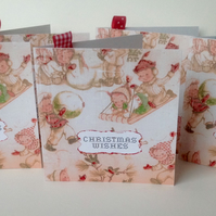Christmas Cards,Five PK,Vintage Wrapping Paper Design,Handmade Xmas Cards