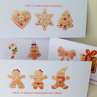 Christmas Cards,Five Pack,Xmas Gingerbread Theme,Handmade