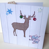Christmas Cards Five PK,Xmas Stag Design,Handmade Cards.