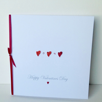 Valentine's Day Card,Red Glittered Heart,Crystal Design,Handmade,Personalised