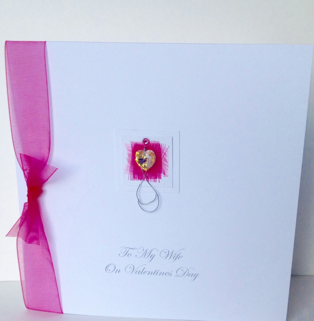 Valentine's Day Card,Handmade Swarovski Crystal Heart Design,Personalised