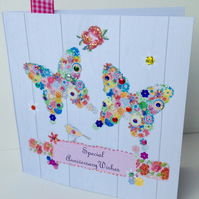 Anniversary Greeting Card,Handmade,Personalised,Handfinished