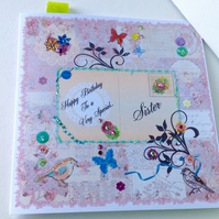 Birthday Card,Sister,Printed Patchwork Design,Can Be Personalised,Handmade