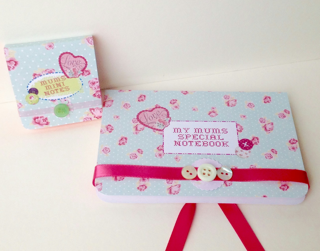 Mothers Day Mini Notebook Set,Handmade,Personalised Gift Set.
