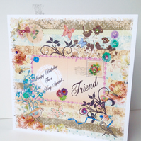 Birthday Card Friend,Printed Patchwork,Handmade,Handfinished,Personalised