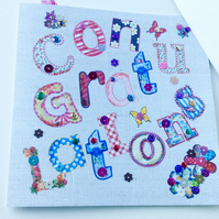 Congratulations Greeting Card,Printed Appliqué Design,Handmade,Handfinished