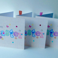 Easter Cards,Printed Applique Design,Handfinished Easter Cards 3pk