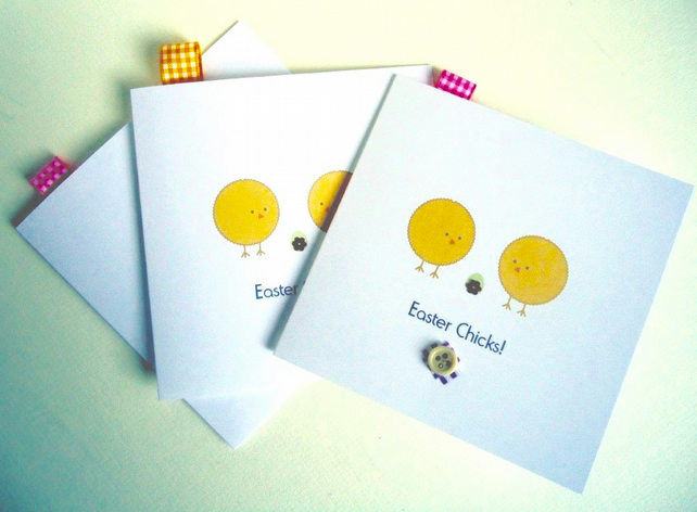 Easter Cards,'Easter Chics',Printed Design,Handfinished 3pk