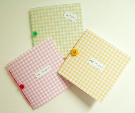 'Gingham' Mini Notebooks, Handmade pack of 3