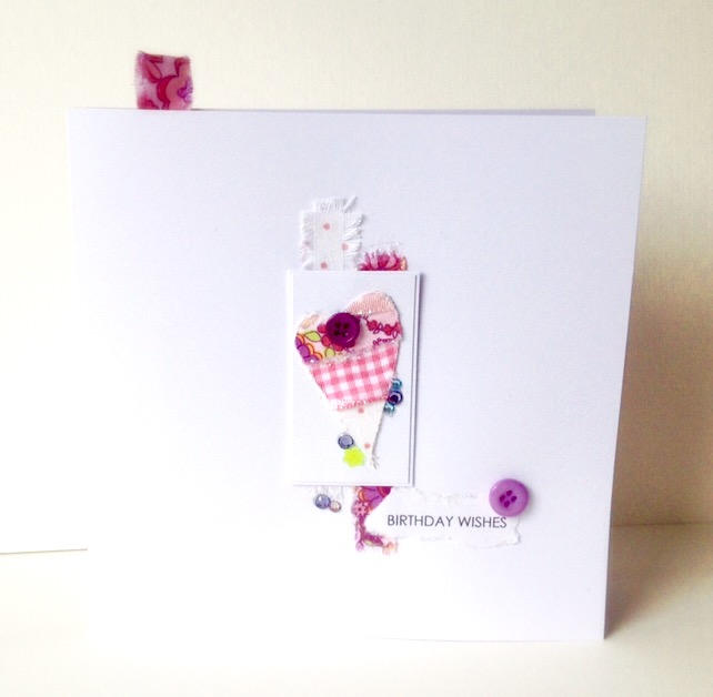 Birthday Card,Collage Heart Design,Handmade Greeting Card,Can Be Personalised