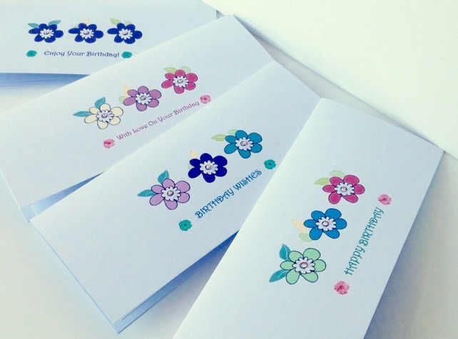 Greeting Card Set Of 4,Birthday Cards'Doodle Flowers'Printed Design,Handfinished