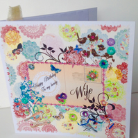 Birthday Card Wife,Printed Patchwork,Handmade Greeting Card,Personalised.