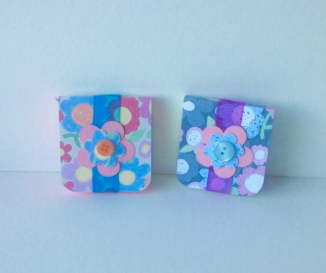 Mini Notebooks Set of Two,Handmade Notebooks,Bright Floral Print.