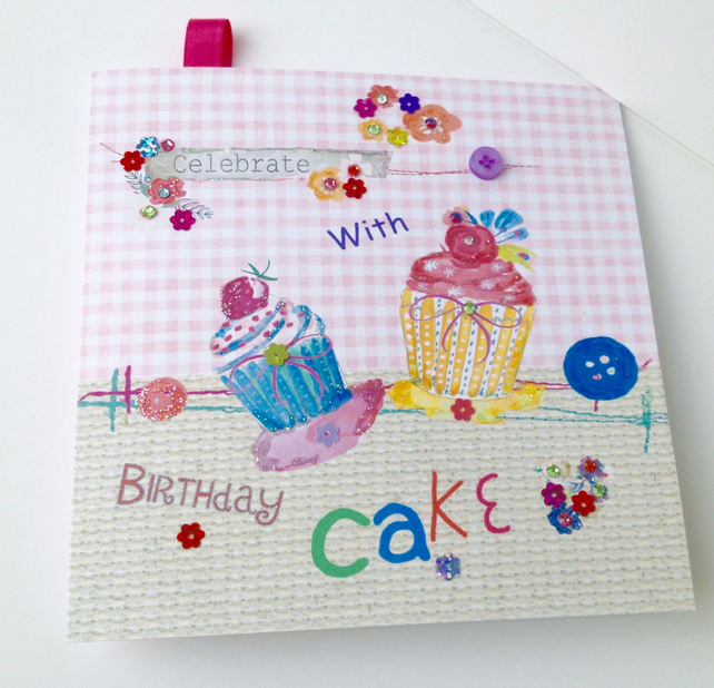 Birthday Greeting Card,Printed Cake Design,Personalised,Handfinished
