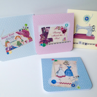 Notecards Set of Four,Vintage Needlework Designs,Handmade Notecards