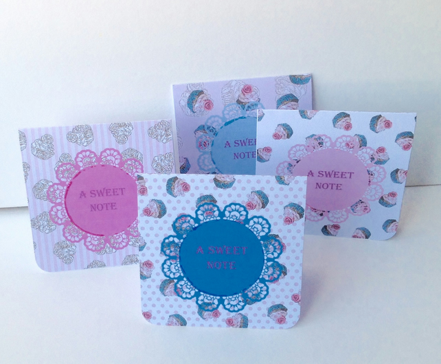 Notecards,Set of Four,'Sweet'Handmade Notecards