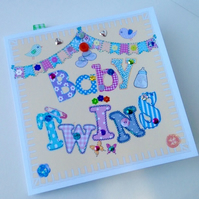 New Baby Twins,Printed Appliqué,Design,Handmade Baby Card,Can Be Personalised