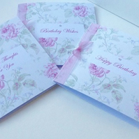 Birthday Card Pk of 3,'Vintage Flowers'Handfinished Greeting Cards.