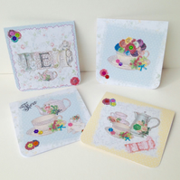 Notecards,Set of Four,Vintage Tea Party,Handmade Notecards