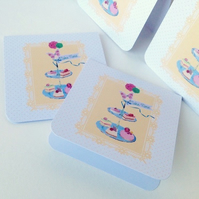 Notecards,Set of Four,'Cake Time'Handmade Notecards with Envelopes