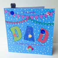 Fathers Day,Greeting Card,Dad,Printed Appliqué Design,Handfinished Card.
