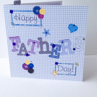 Father's Day Greeting Card,Printed Applique Design,Hand Finished Card